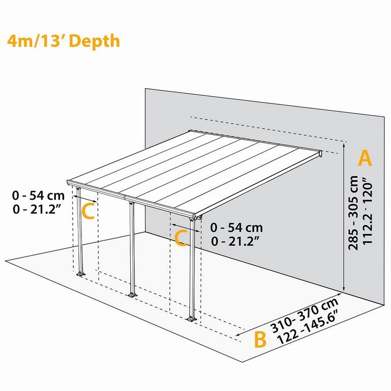Terrassenberdachung 4x4m Haloring for dimensions 1200 X 1200
