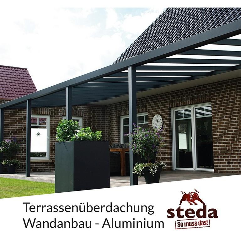 Terrassenberdachung Alu 6x4 M 600x400 Cm Doppelsteg Wandanbau with sizing 1000 X 1000