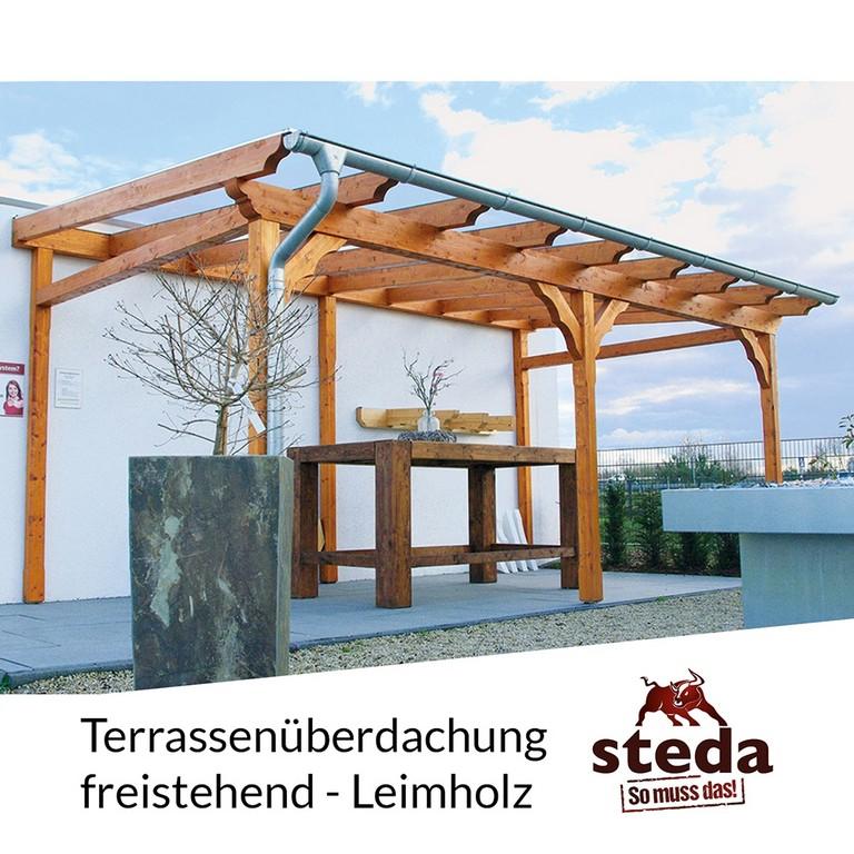 Terrassenberdachung Holz Leimholz 6x4 M 600x400 Cm Freistehend in proportions 1000 X 1000