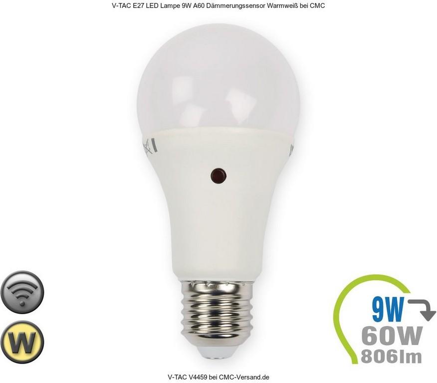 V Tac E27 Led Lampe 9w A60 Dmmerungssensor Warmwei V4459 regarding dimensions 1000 X 877