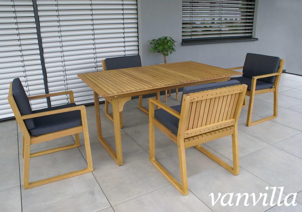 Vanvilla Gartenmbel Set Holz 1 Tisch 4 Sessel Set3 Auflage Grau pertaining to measurements 3692 X 2592