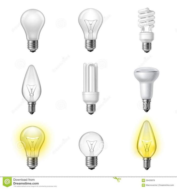Verschiedene Arten Realistische Glhlampen Eingestellt Vektor for proportions 1300 X 1390