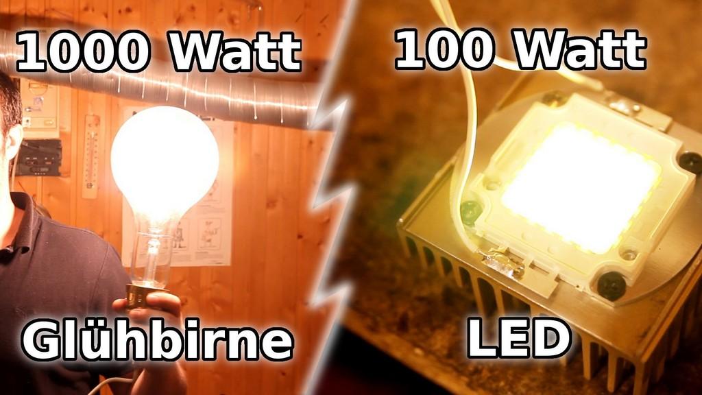 Viel Licht Aus Einer 1000 Watt Glhbirne Und Einer 100 Watt Led with regard to proportions 1920 X 1080