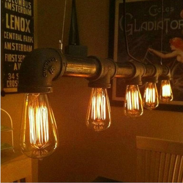 Vintage Pendelleuchten Metall Eisen Wasserleitung Lampe Steampunk with proportions 1000 X 997