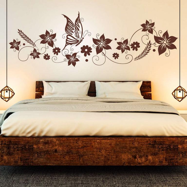 Wandtattoo Blumen Ranke Mit Schmetterling Deko Fr Schlafzimmer in dimensions 1000 X 1000