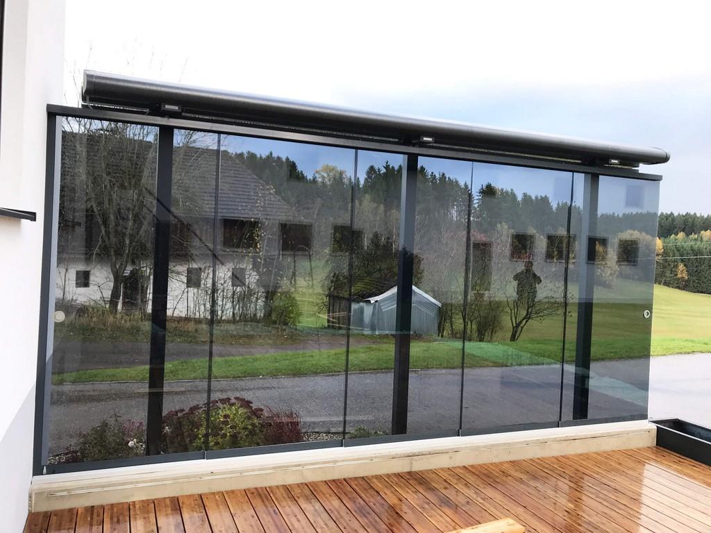Windschutz Fr Terrasse Transparent Mit Glasschiebetren inside size 2000 X 1500