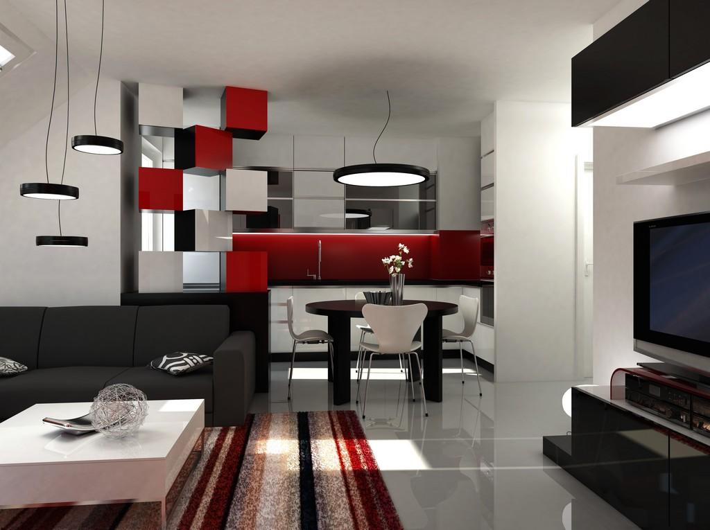 Wohnzimmer Grau Weiß Rot - Haus Ideen