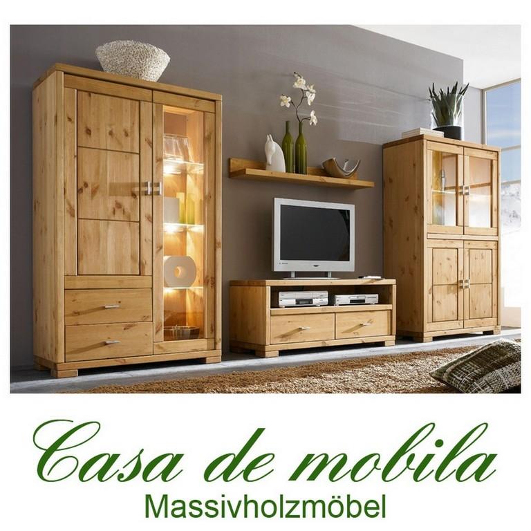 Wohnzimmermbel Wohnwand Holz Kiefer Massiv Gebeizt Gelt for size 1024 X 1024