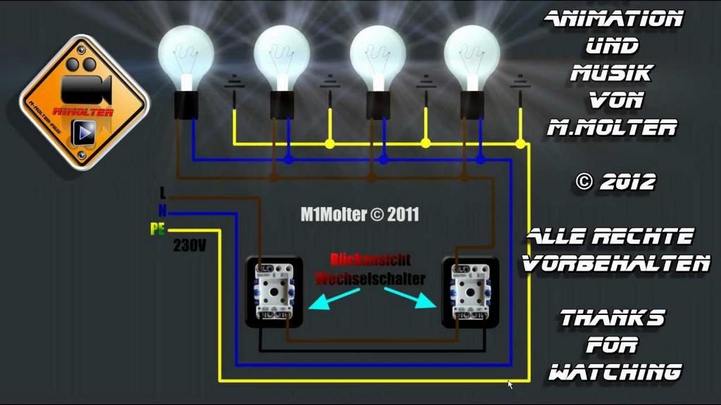 Zwei Lichtschalter Und Vier Lampen Anschlieen Am Schaubild Erklrt pertaining to dimensions 1280 X 720