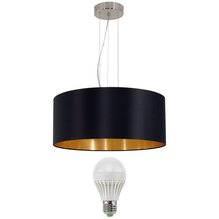 15 Watt Led Hnge Pendel Leuchte Schwarz Gold Lampe Rund Wohnraum for measurements 1000 X 1000