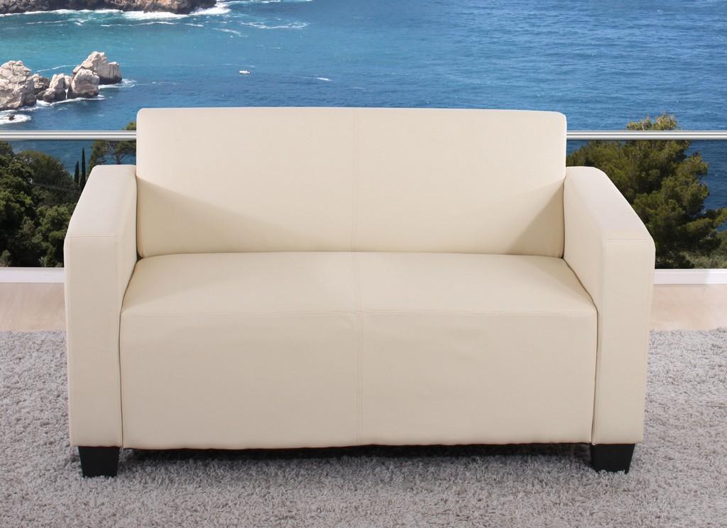 2er Sofa Couch Lyon Loungesofa Kunstleder Creme inside proportions 2560 X 1859