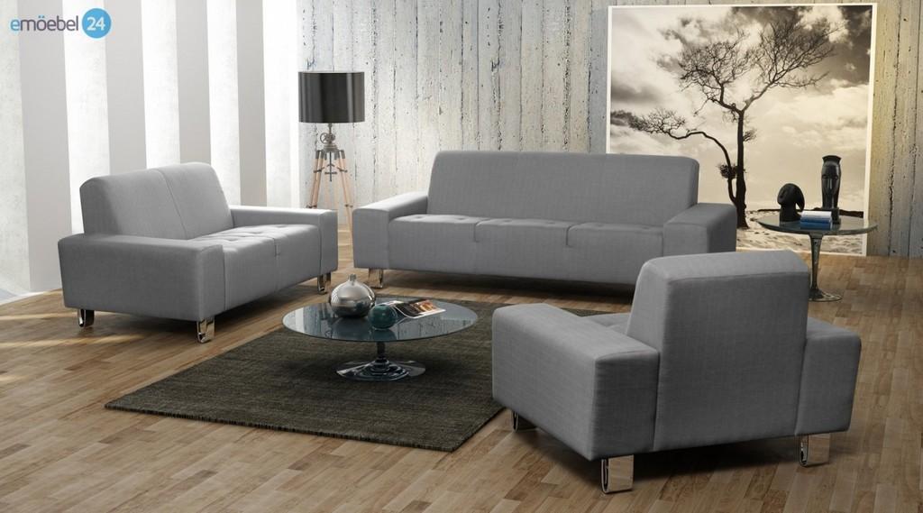 Asilla Set 3 2 1 Sofa Couch Webstoff Grau Emoebel24 regarding sizing 1440 X 800