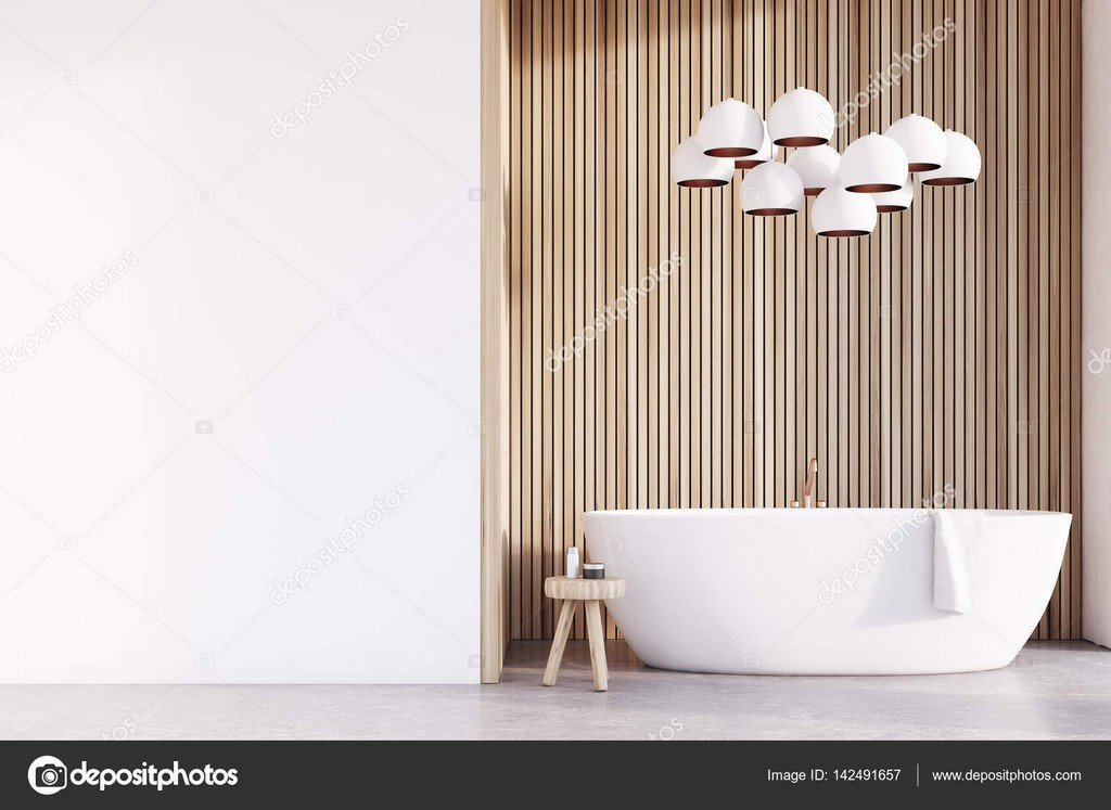 Badezimmer Mit Lampen Helles Holz Wand Stockfoto inside size 1600 X 1167