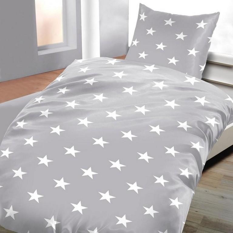 Biber Bettwsche Grau Mit Sternen 135 X 200 Cm 80 Real in size 1024 X 1024