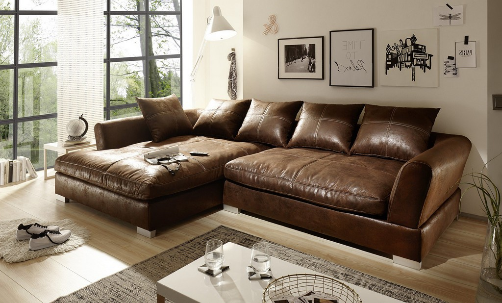 Big Sofa L Form Vintage Wildlederoptik Braun Hannah throughout dimensions 1754 X 1059