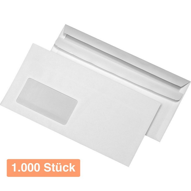 Briefumschlge Din Lang Wei Mit Fenster Selbstklebend 1000 Stck inside dimensions 1000 X 1000