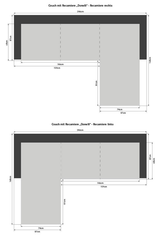 Couch Mit Recamiere Donelli for proportions 846 X 1243