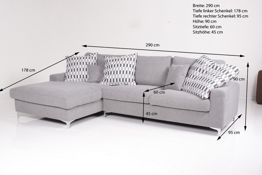 Ecksofa Nike Recamiere L Grau Kawola Design in dimensions 1200 X 800