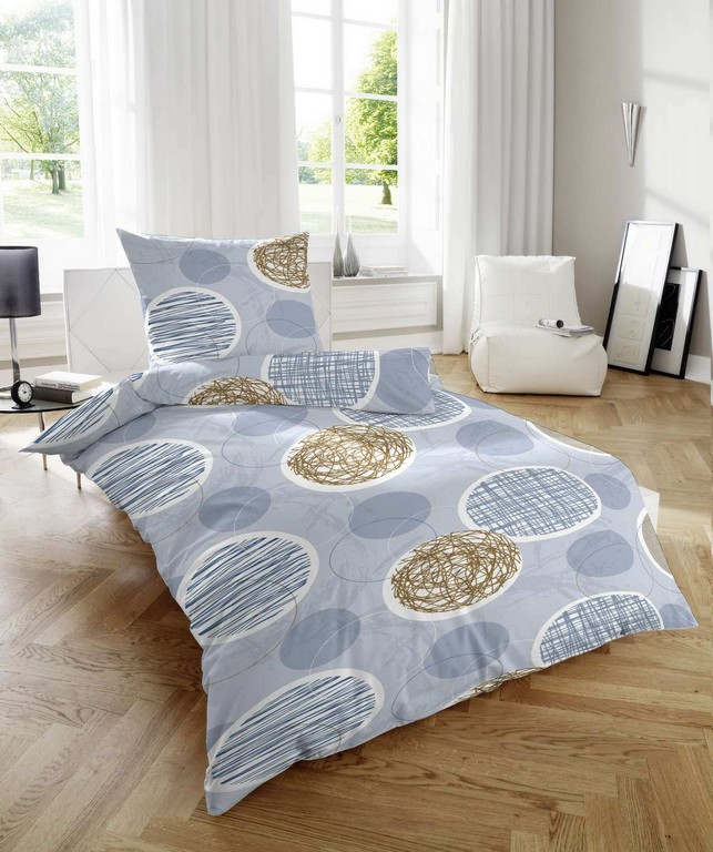 Feinbiber Bettwsche Kreise Blau Braun Magitade with sizing 1280 X 1530