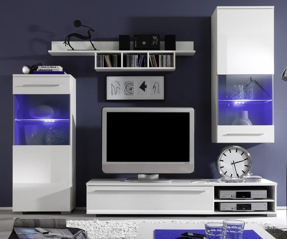 Gro Moderner Wohnzimmerschrank Mit Glastren Und Led Beleuchtung regarding measurements 1031 X 859