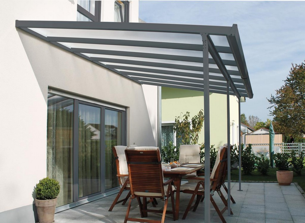 Gutta Terrassenberdachung Bausatz Typ F 546 X 406 M Anthrazit in proportions 1200 X 879