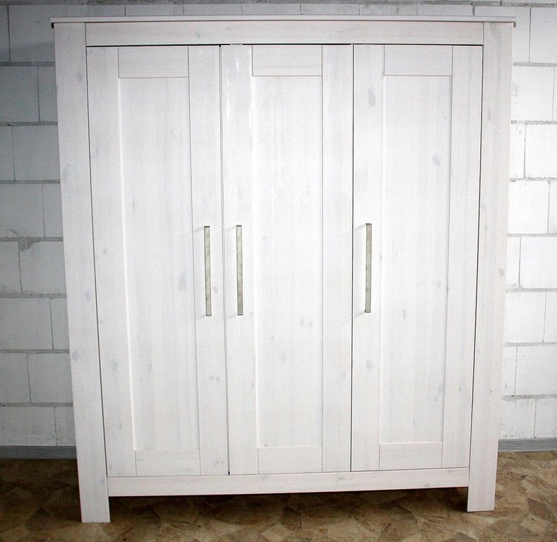 Kleiderschrank 3trig 163x190x63cm Kiefer Massiv Wei Gewachst regarding sizing 976 X 950