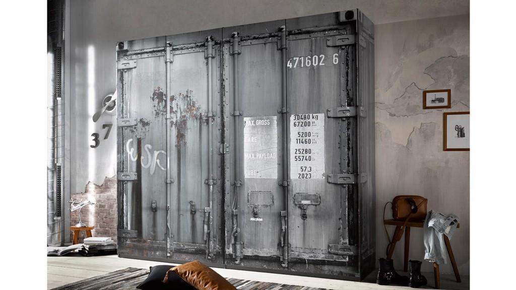 Kleiderschrank Container Schrank In Grau Industriedesign pertaining to proportions 1500 X 844