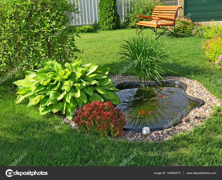 Kleiner Teich Im Garten Mit Rasen Und Bank Stockfoto Most55 for sizing 1600 X 1300