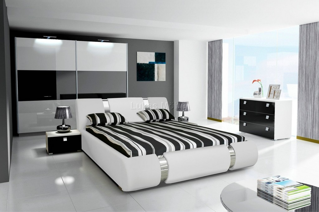 Komplett Schlafzimmer Novalis Hochglanz Schwarz Wei pertaining to dimensions 1600 X 1067