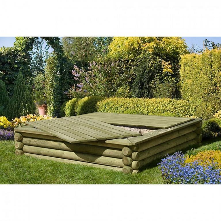 Sandkasten Holz 180x180 Cm Premium Qualitt Aus Palisaden Mit Deckel within size 900 X 900