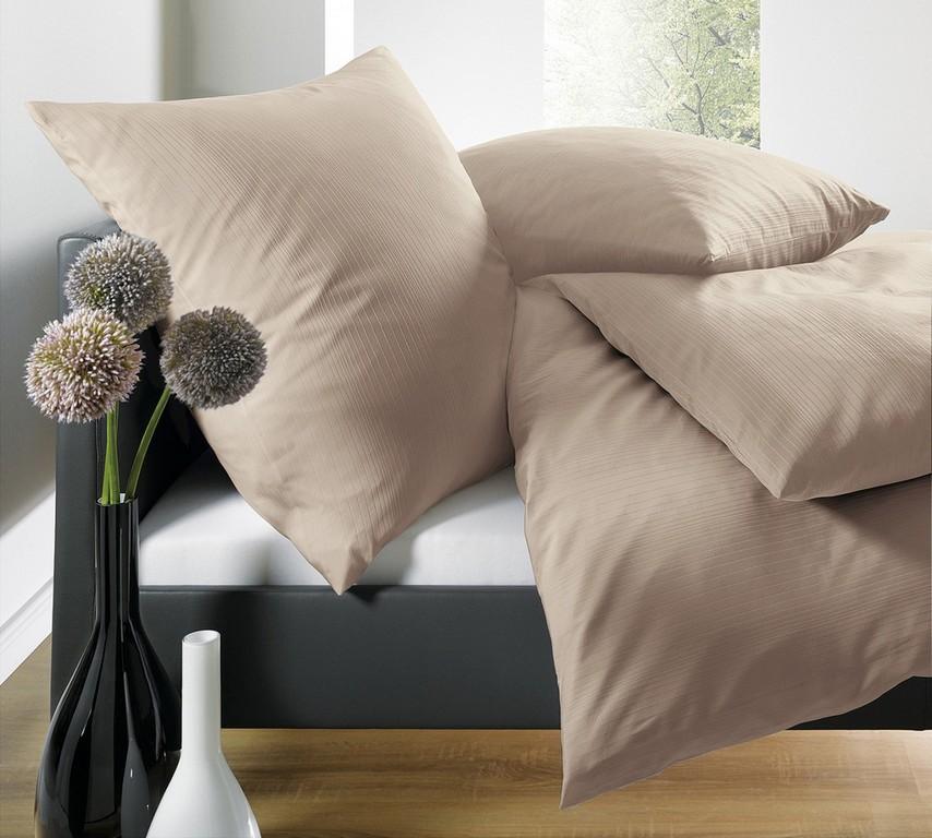 Schlafgut Bettwsche Uni Mako Satin Streifeneffekt Sahara for proportions 1500 X 1349