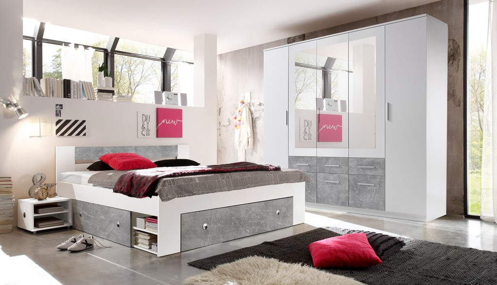 Schlafzimmer Komplett Set 4 Tlg Stefan Bett 180 Kleiderschrank Wei inside sizing 3508 X 2019