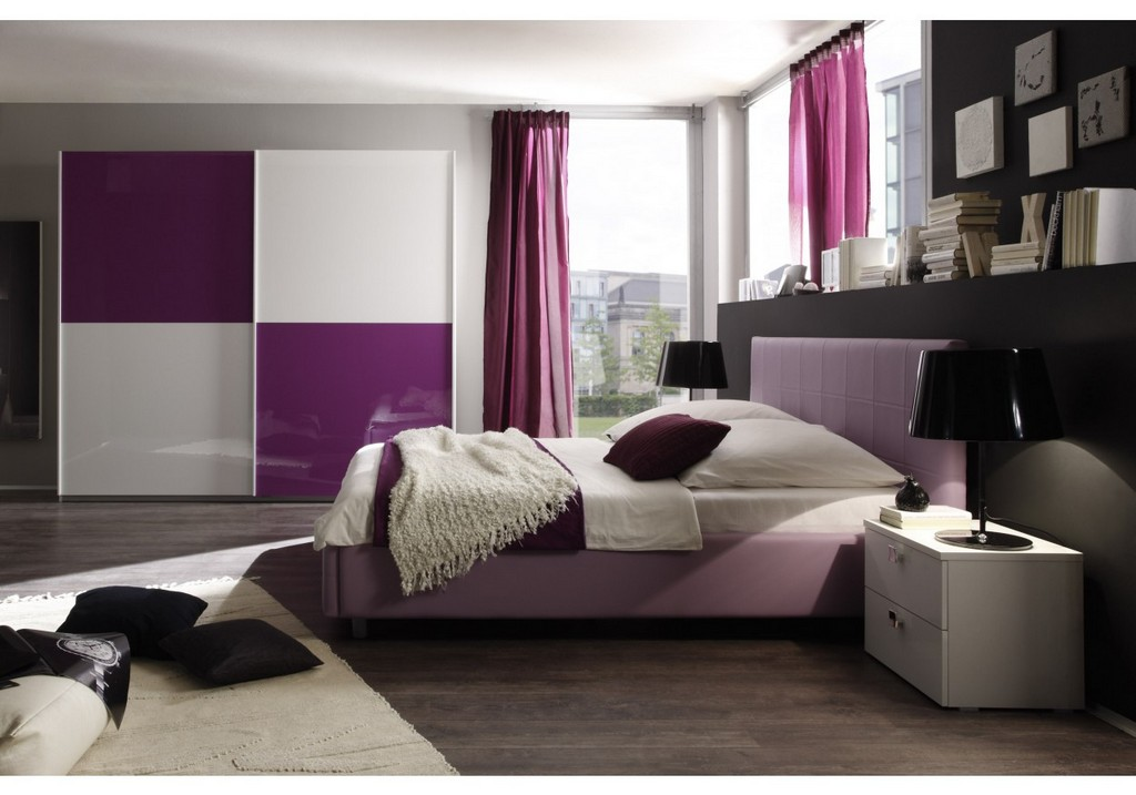Schlafzimmer Mit Bett 140 X 200 Cm Weiss Lila Woody 12 00599 regarding sizing 1250 X 875