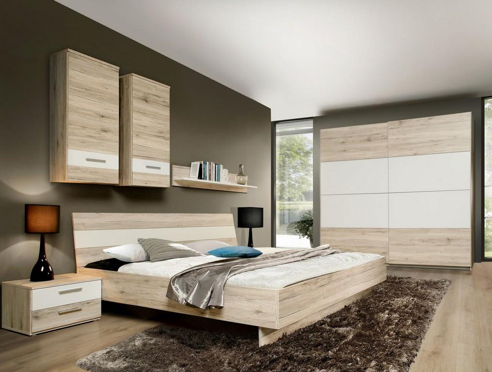 Schlafzimmer Mit Bett 180 X 200 Cm Sandeiche Weiss Woody 77 00361 in dimensions 1810 X 1370