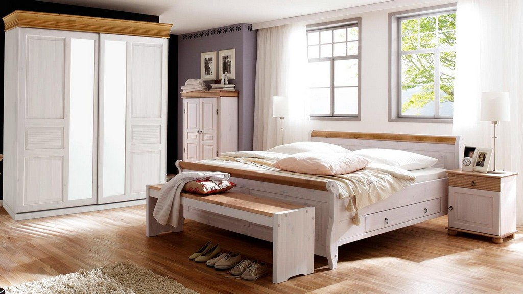 Schlafzimmer Oslo 4 Tlg Set Kiefer Massiv Wei Antik Mit Schweber throughout size 1500 X 844