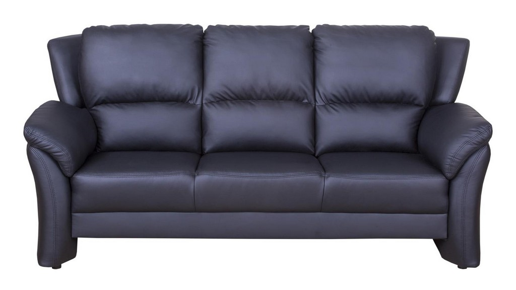 Sofa 3 Sitzer Pisa Couch Polstermbel In Schwarz Lederlook intended for measurements 1500 X 844