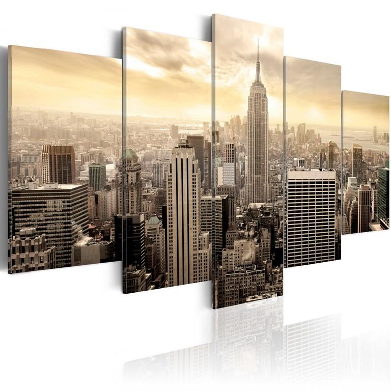 Wandbilder Xxl New York Skyline Leinwand Bilder 5 Teilig Wohnzimmer for dimensions 3000 X 3000