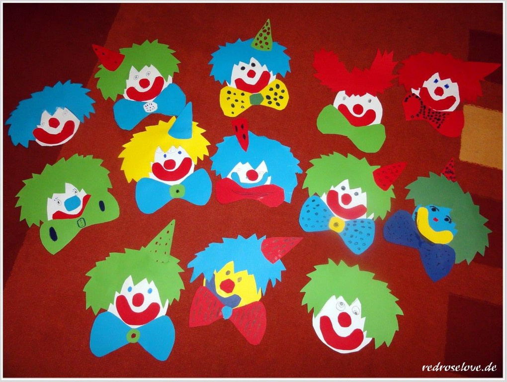 Wir Basteln Fr Karneval Clown Fensterbilder Redroselove Mein Avec intended for dimensions 1280 X 964
