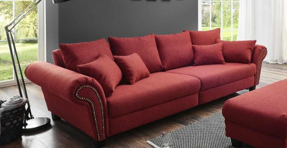 Big Sofa In Kirschrotem Webstoff Polsterung Aus Vollschaum Auf with size 1280 X 978