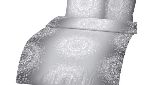 Dobnig Mako Satin Bettwsche Ornamente Silber Wei Lidl within size 1500 X 1125