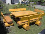 Gartenmbel Set Mit Gartentisch Und 4 Gartenbnken Aus Holz regarding proportions 1250 X 938