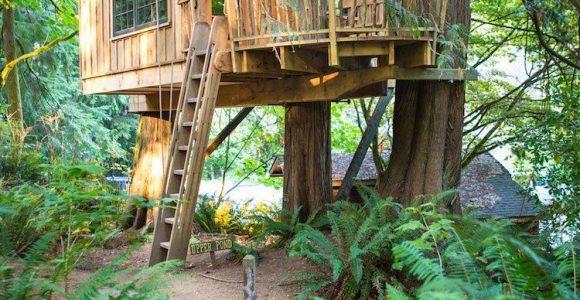 Luxus Baumhaus Fr Kinder Holz Wald Beleuchtung Garden House Kids inside proportions 750 X 1125