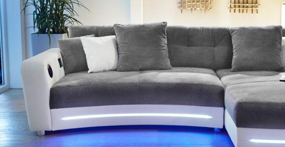 Multimedia Sofa Larenio Hifi Wohnlandschaft 322×200 Cm Grau Wei regarding size 1050 X 800