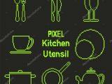 Pixel Kunst Gliederung Kche Utensil Symbole Stockvektor pertaining to size 1024 X 1024
