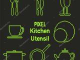Pixel Kunst Gliederung Kche Utensil Symbole Stockvektor with regard to size 1024 X 1024