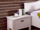 Schlafzimmer Cassa Pinie Wei Bett 180×200 Doppelbett Nachttisch regarding measurements 800 X 1050