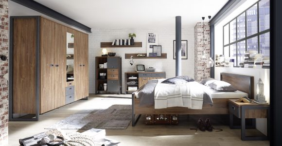 Schlafzimmer Industrial Style Bett In 180 X 200 Cm Stirling Oak with regard to sizing 3508 X 1872