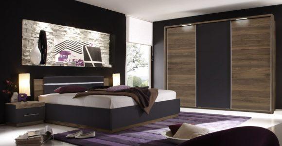 Schlafzimmer Mit Bett 180 X 200 Cm Columbia Nussbaum Schwarz Matt throughout size 1250 X 875