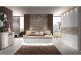 Schlafzimmer Mit Bett 180 X 200 Cm Sandeiche Weiss Hochglanz Woody within size 1250 X 875
