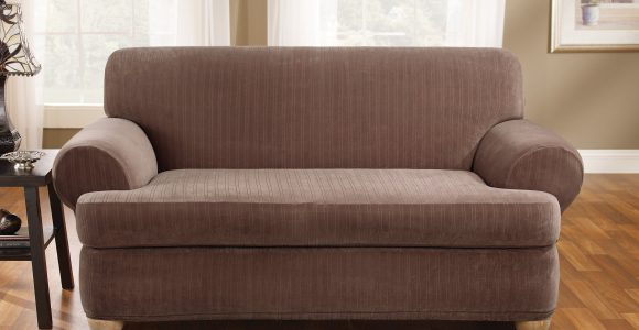 Sure Fit Stretch Pinstripe T Cushion Two Piece Sofa Slipcover throughout sizing 3200 X 3200
